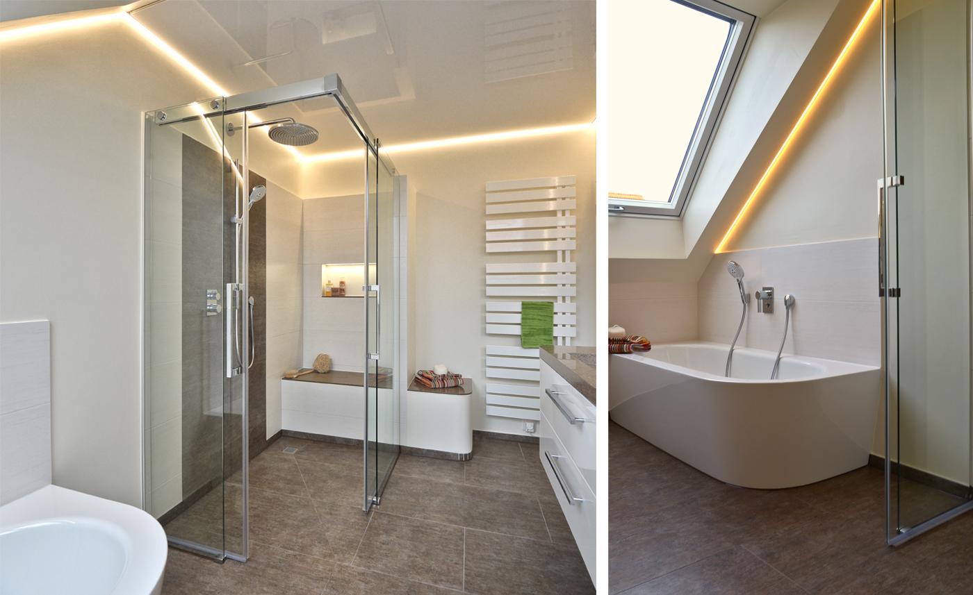 ... Der Lackspanndecke Von Ciling Mit Umlaufender LED Beleuchtung Und Der  Beleuchteten Nischen An Waschbecken Und Dusche Erstrahlt Das Bad In Neuem  Glanz.